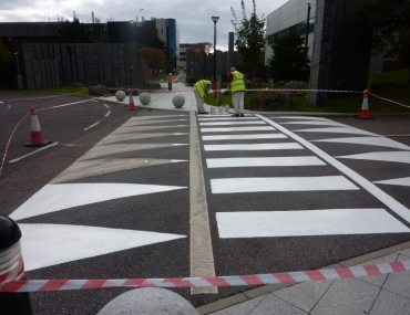Road line painting Hovione site Loughbeg Cork