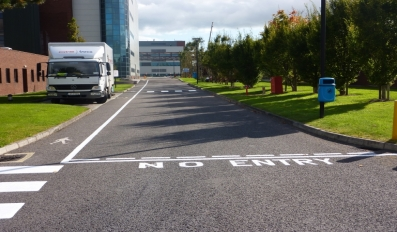Road line painting Hovione site Cork